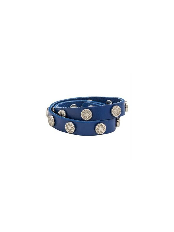 Royal Blue Leather Wrap with Silver Studs