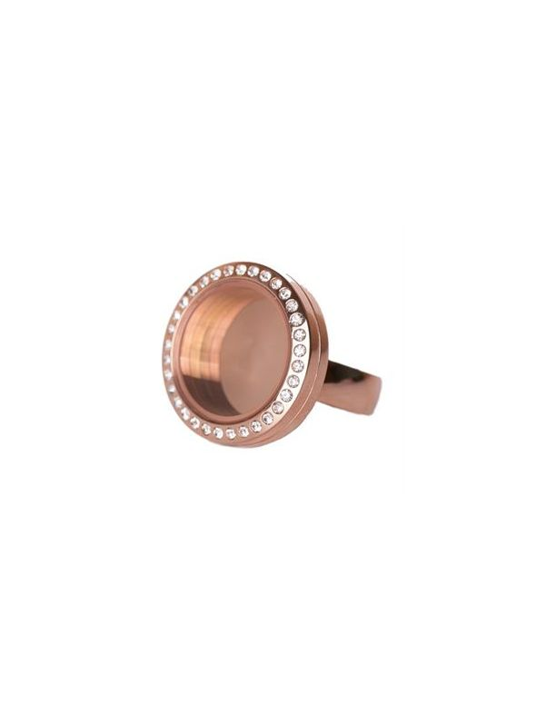 Rose Gold with Crystals Medium Locket Ring - Size 8