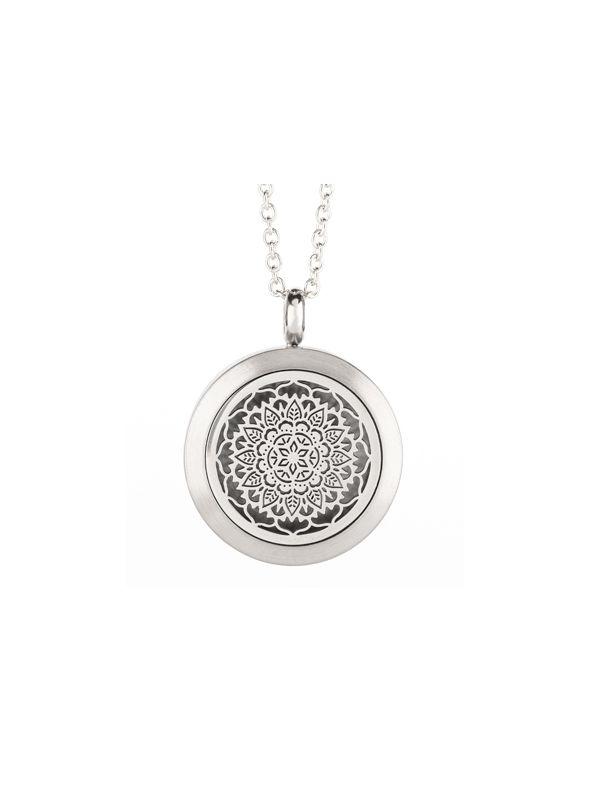 Floral Essential Oil Locket Silver